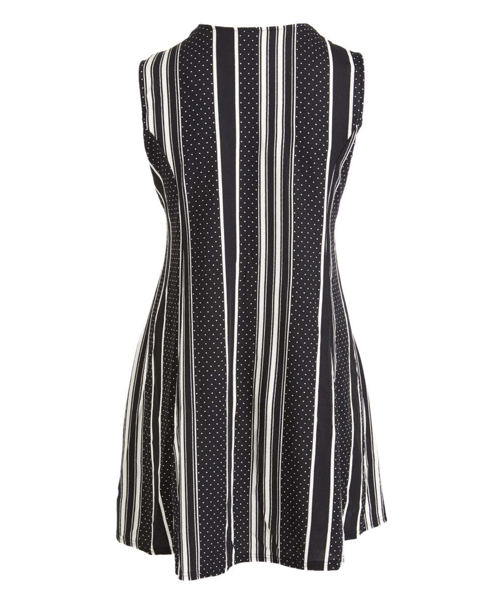 477437383f05 Black & White Stripe Pin Dot Tassel V-Neck Sleeveless Dress - Women ...