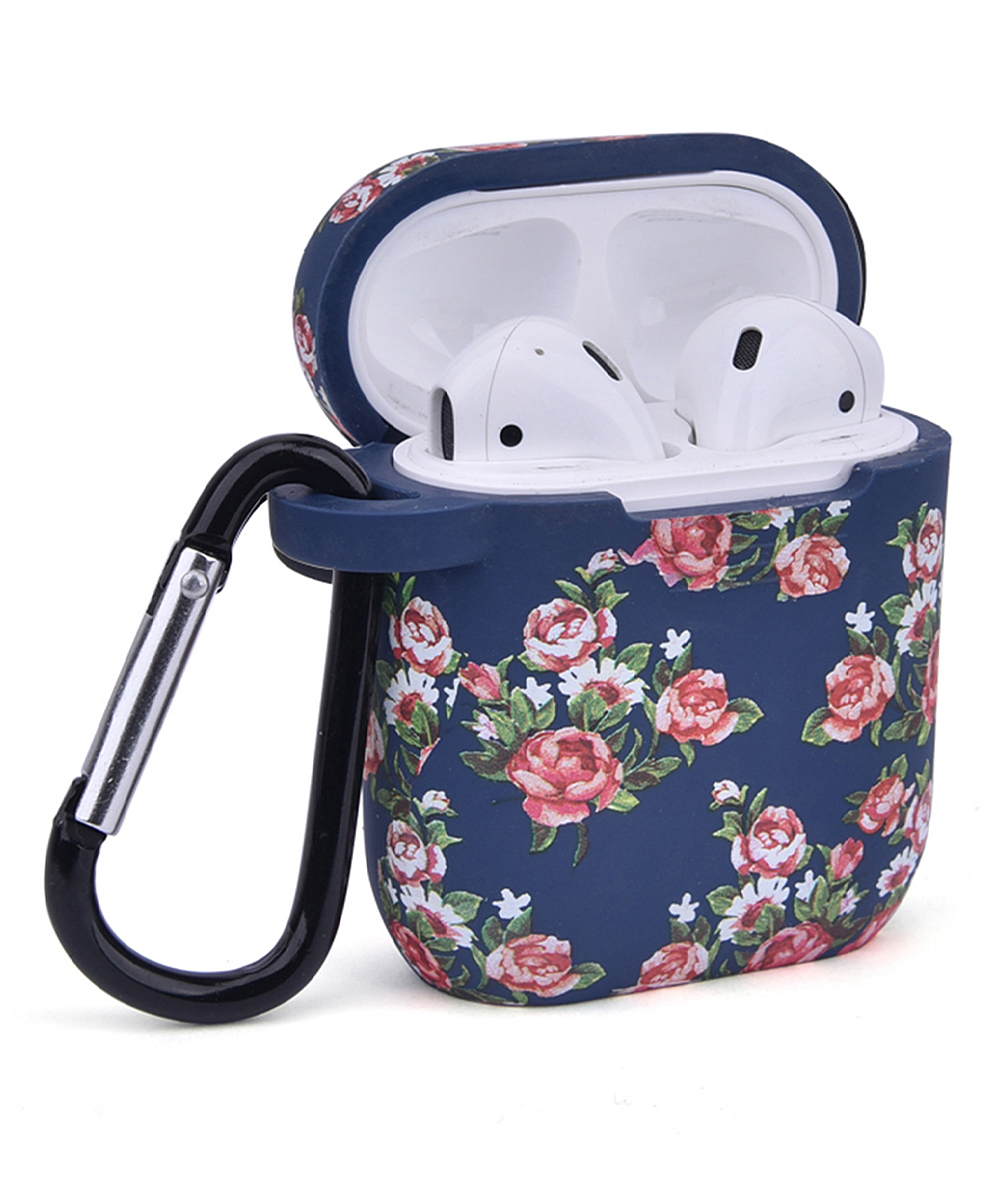 Navy & Pink Floral Airpod Accessory Set Navy & Pink Floral Airpod Accessory Set. Take your Airpods on the go with this convenient set of carrying accessories featuring vibrant designs for easygoing flair. Includes Airpod case, magnetic strap, Airpod holder, two ear hooks, carabiner clip and carrying bagAirpods not includedImported