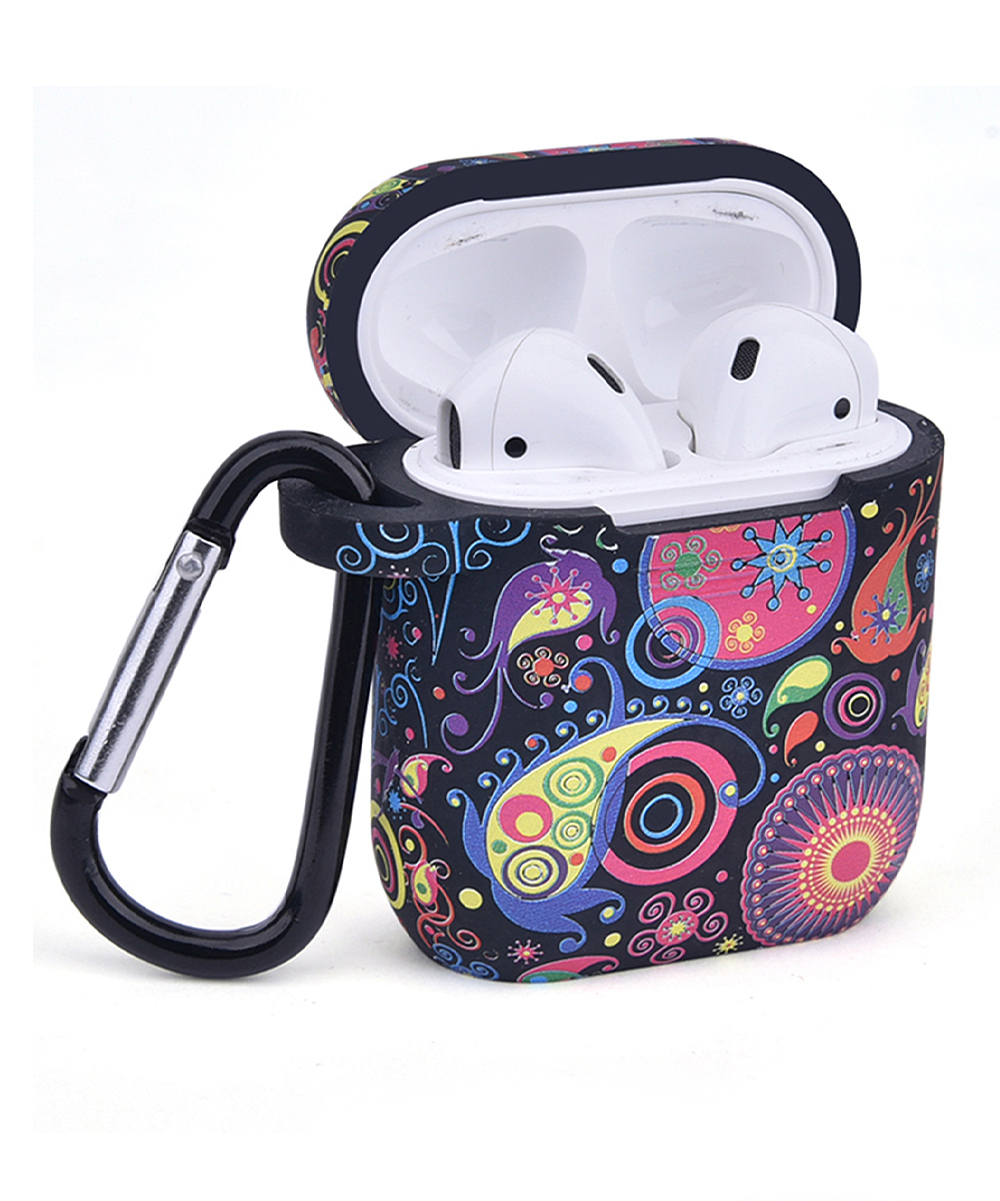 Blue & Purple Paisley Airpod Accessory Set Blue & Purple Paisley Airpod Accessory Set. Take your Airpods on the go with this convenient set of carrying accessories featuring vibrant designs for easygoing flair. Includes Airpod case, magnetic strap, Airpod holder, two ear hooks, carabiner clip and carrying bagAirpods not includedImported