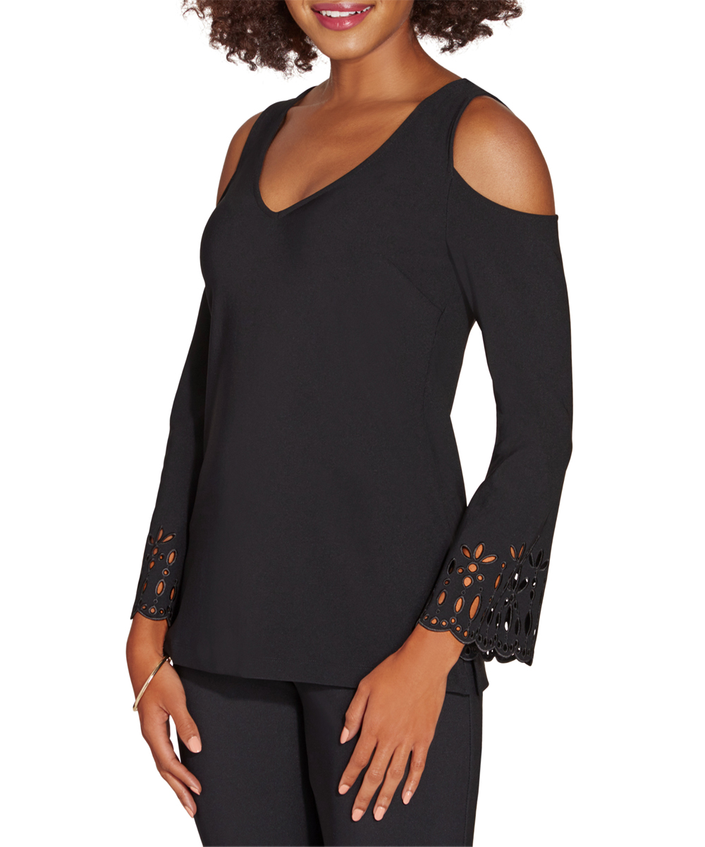Boston Proper Women's Blouses Jet - Jet Black Beyond TravelTM Cold Shoulder Laser-Cut Top
