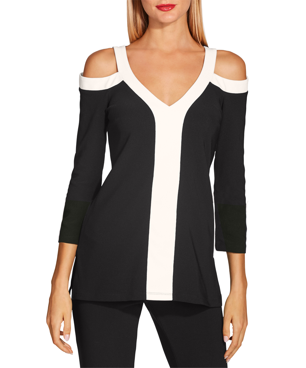 Boston Proper Women's Blouses Jet - Jet Black Color Block Beyond TravelTM Cold Shoulder V-Neck Top