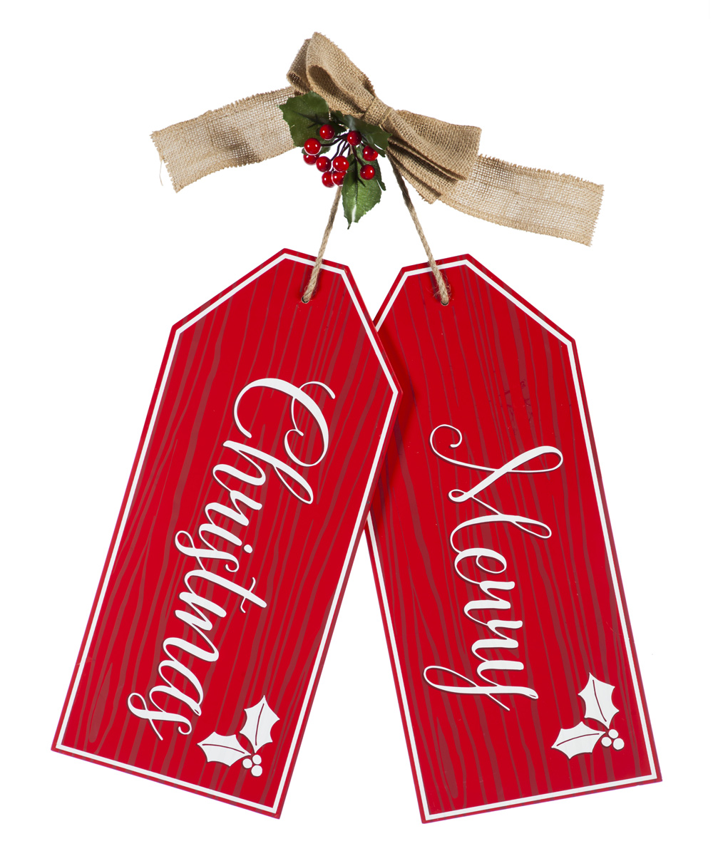Merry Christmas Gift Tags.Evergreen Red White Merry Christmas Gift Tag Wall Decor