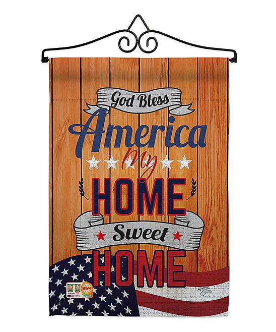Orange & Red 'America My Home' Garden Flag
