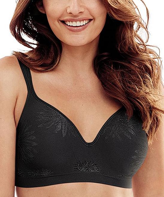 Bali Women's Bras BLACK - Black Jacquard Comfort Revolution Seamless T-Shirt Bra - Plus Too
