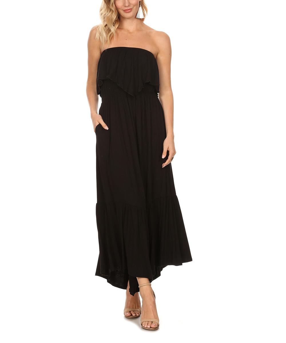 Karen T. Design Women's Maxi Dresses black - Black Ruffle-Hem Strapless Maxi Dress - Plus
