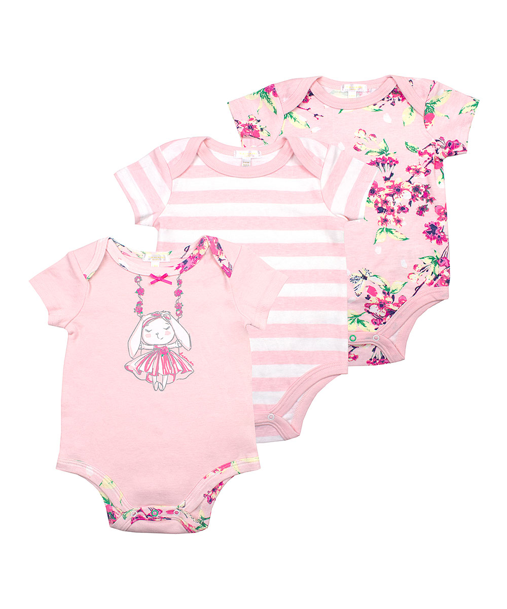 Tahari Baby Girls' Infant Bodysuits PINK - Light Pink Floral Swinging Bunny Bodysuit Set - Newborn & Infant