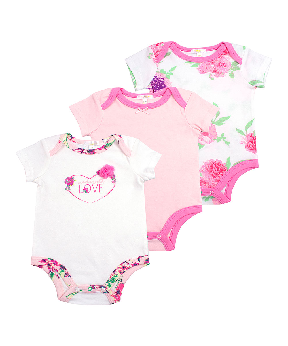 Tahari Baby Girls' Infant Bodysuits PINK - White & Pink Floral 'Made with Love' Bodysuit Set - Newborn & Infant
