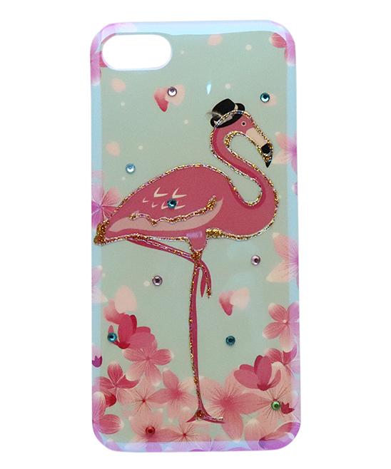 Blue & Pink Diamante Floral Flamingo Case for iPhone