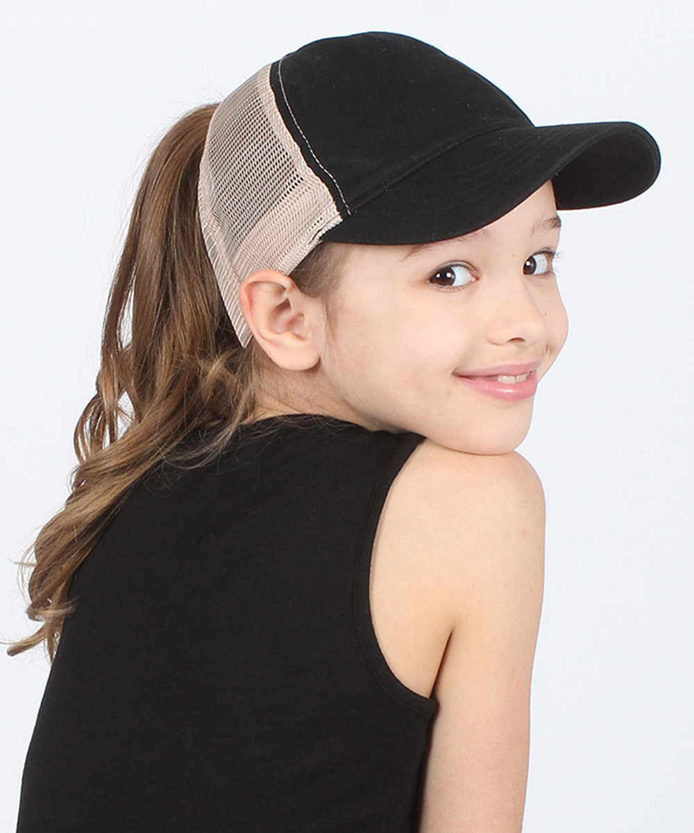 6a0e0012 Ponyflo by David & Young Black Ponyflo Trucker Hat - Kids