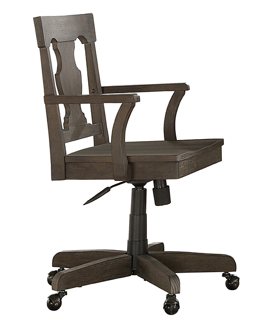 Gray Wash Open-Back Adjustable-Height Swivel Office Chair
