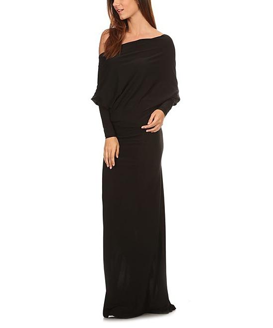 Karen T. Design Women's Maxi Dresses black - Black Asymmetrical Maxi Dress - Plus