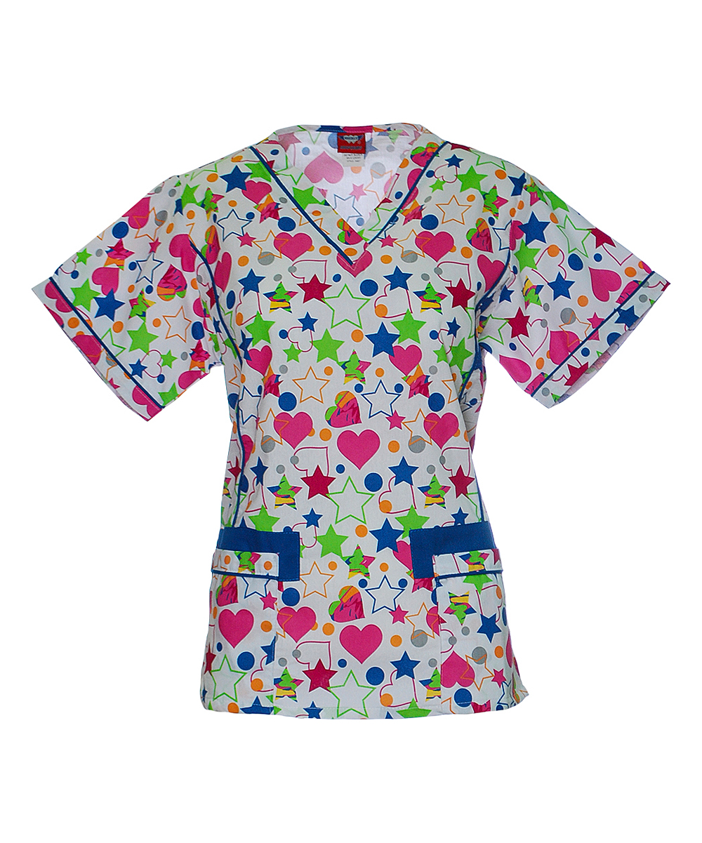 e067a0eb5bc Sherly Uniforms Hot Pink & Lime Heart Stars Trimmed V-Neck Scrub Top ...