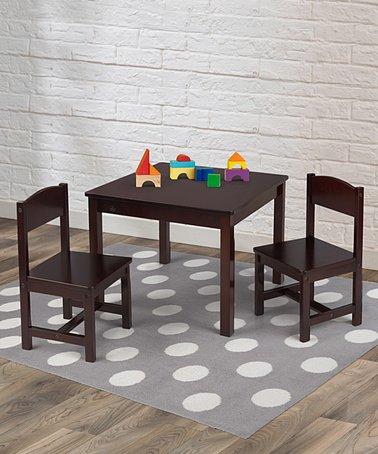 Espresso Three-Piece Aspen Table \u0026 Chair Set & KidKraft Airport Express Table Train Set   zulily