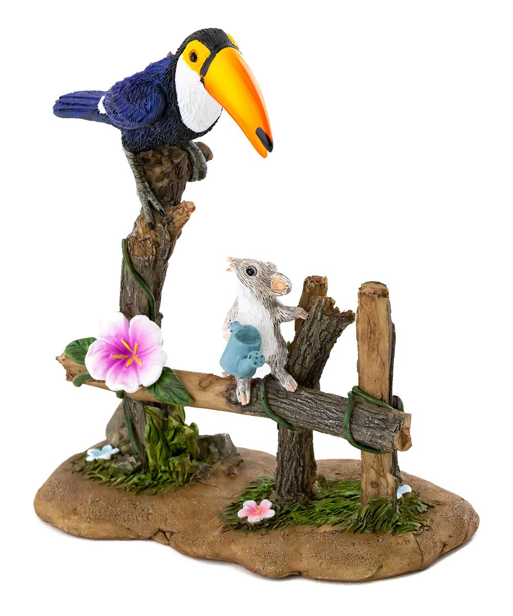 Toucan Watering Garden with Mouse Garden Figurine