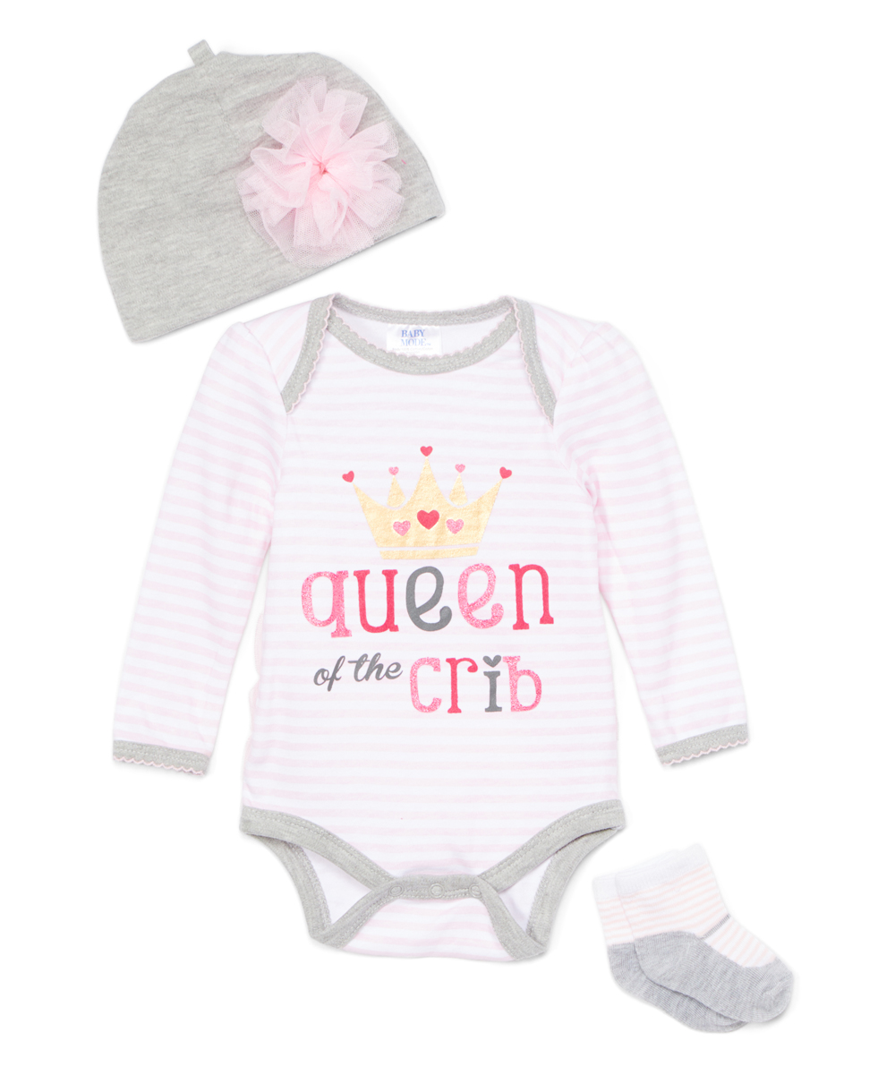 Baby Mode Girls' Infant Bodysuits Pink/Grey - Gray & Pink 'Queen of the Crib' Bodysuit Set - Newborn & Infant