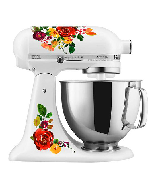 Watercolor Floral Mixer Set Watercolor Floral Mixer Set. Provide a pop of personality to your kitchen collection with this decal set that changes the look of your mixer in a flash.Mixer not included8.5'' W x 11'' H x 0.5'' DAdhesive vinylWaterproof