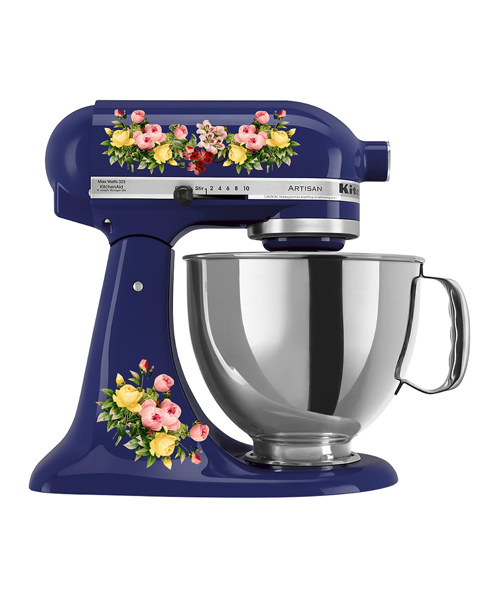 Floral Mixer Decal Set Floral Mixer Decal Set. Provide a pop of personality to your kitchen collection with this decal set that changes the look of your mixer in a flash.Mixer not included8.5'' W x 11'' H x 0.5'' DAdhesive vinylWaterproof