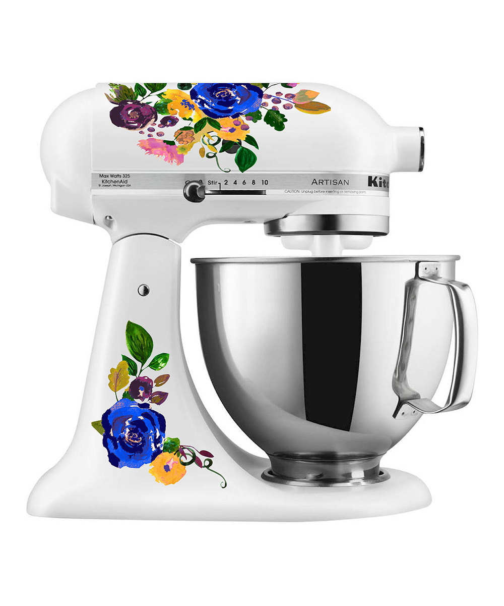 Blue Watercolor Floral Mixer Set Blue Watercolor Floral Mixer Set. Provide a pop of personality to your kitchen collection with this decal set that changes the look of your mixer in a flash.Mixer not included8.5'' W x 11'' H x 0.5'' DAdhesive vinylWaterproof