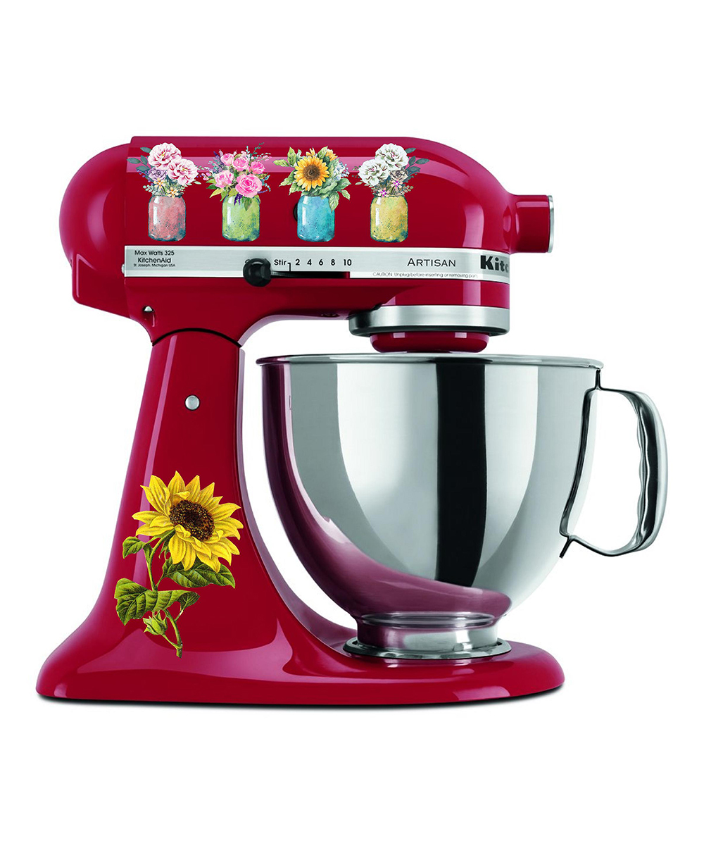 Flower Jars Mixer Decal Set Flower Jars Mixer Decal Set. Provide a pop of personality to your kitchen collection with this decal set that changes the look of your mixer in a flash.Mixer not included8.5'' W x 11'' H x 0.5'' DAdhesive vinylWaterproof