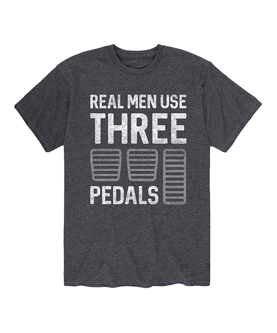 Instant Message Mens Men's Tee Shirts HEATHER - Heather Charcoal 'Real Men Use Three Pedals' Tee - Men