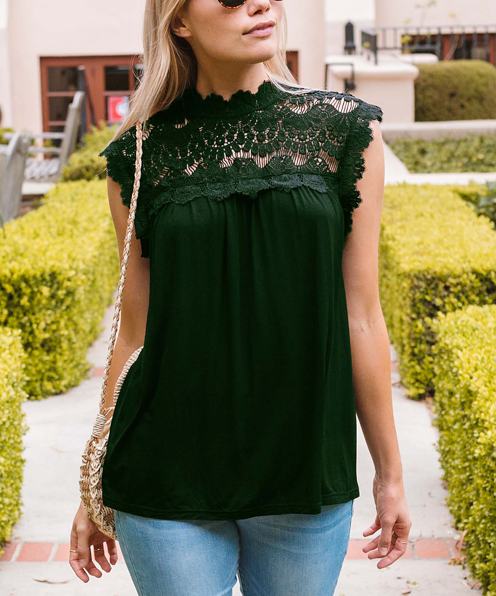 Amaryllis Women's Blouses Forest - Forest Green Scallop-Trim Sleeveless Top - Plus