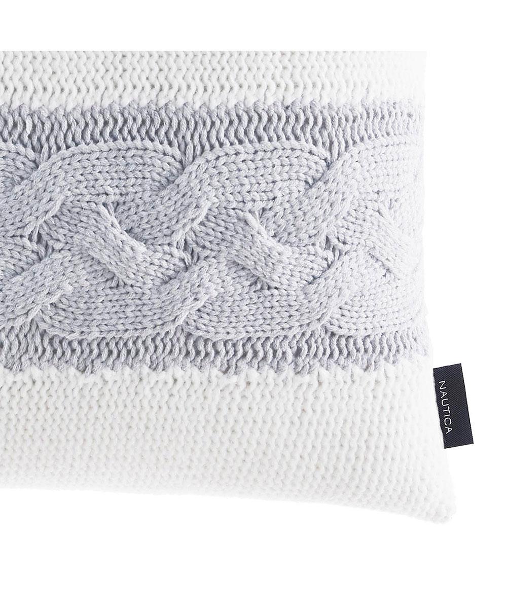 Nautica Gray Stripe Claridge Knit Throw Pillow