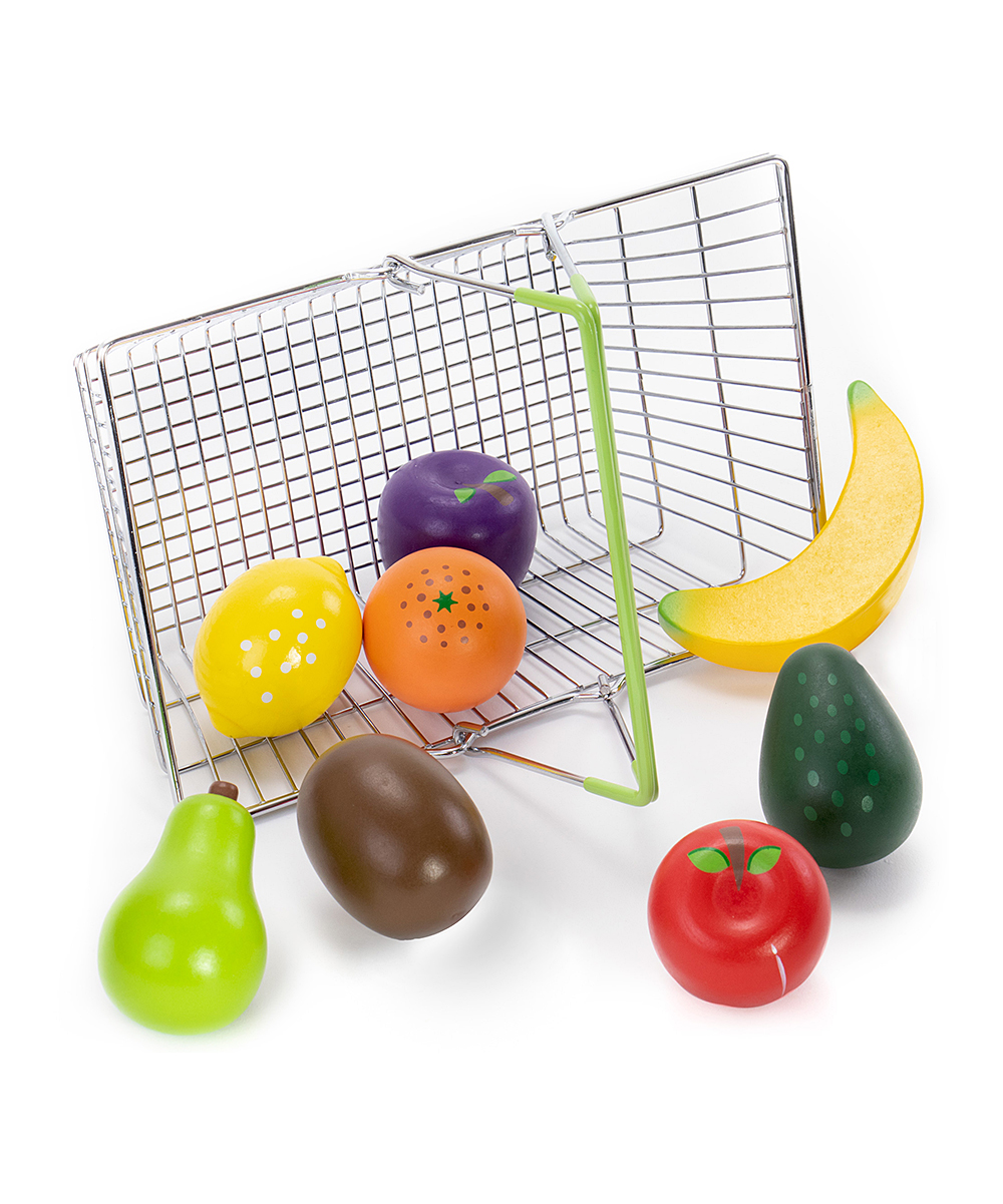 Imagination Generation  Developmental Toys  - My Healthy Shopping Basket Produce Play Set My Healthy Shopping Basket Produce Play Set. Help inspire healthy eating habits even during play time with this wooden play set of produce that comes with a grocery basket for easy carrying to boot.Includes apple, orange, avocado, banana, kiwi, pear, lemon, plum and grocery basket (nine items total)Metal / woodRecommended for ages 2 years and upImported
