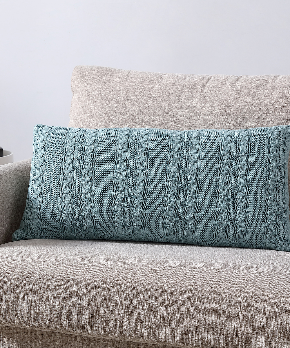 Miraculous Vcny Home Blue Cable Knit Throw Pillow Theyellowbook Wood Chair Design Ideas Theyellowbookinfo