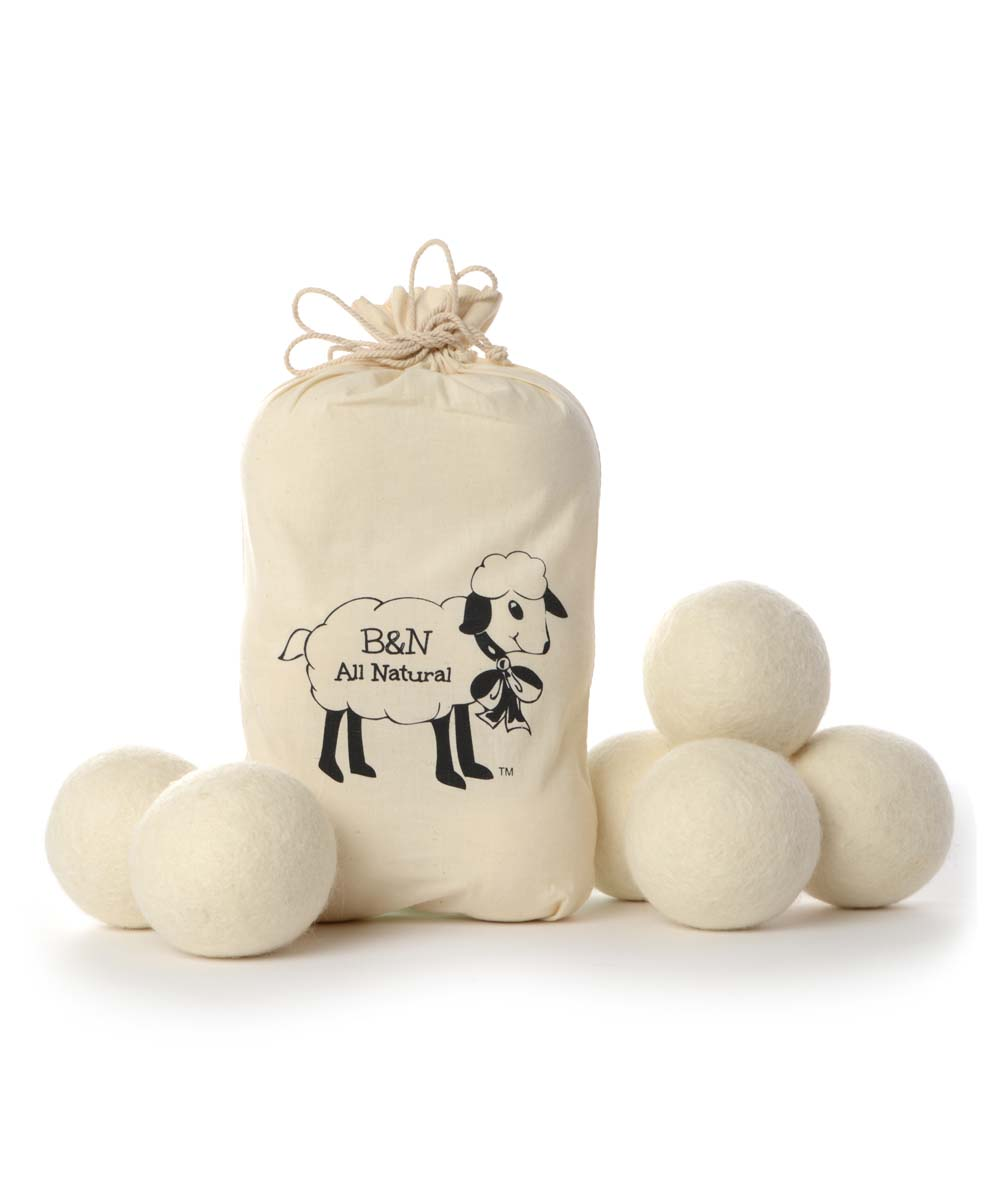 Wool Dryer Ball - Set of Six Wool Dryer Ball - Set of Six. Replace your dryer sheets with these wool balls that offer a reusable solution to soften your clothes and reduce static. Includes six dryer balls and bag (seven pieces total)WoolImported