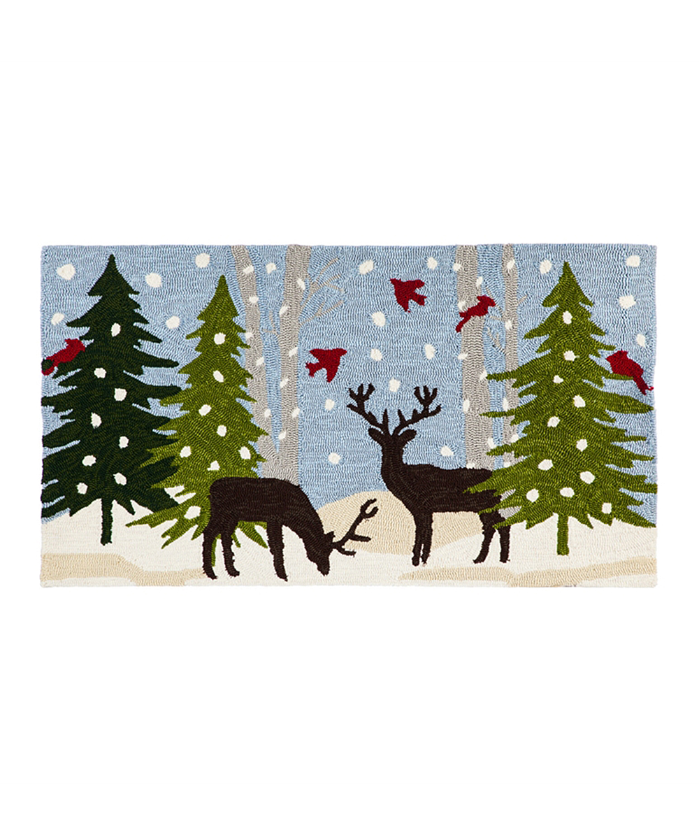 Evergreen Winter Woodland Indoor Outdoor Hook Rug