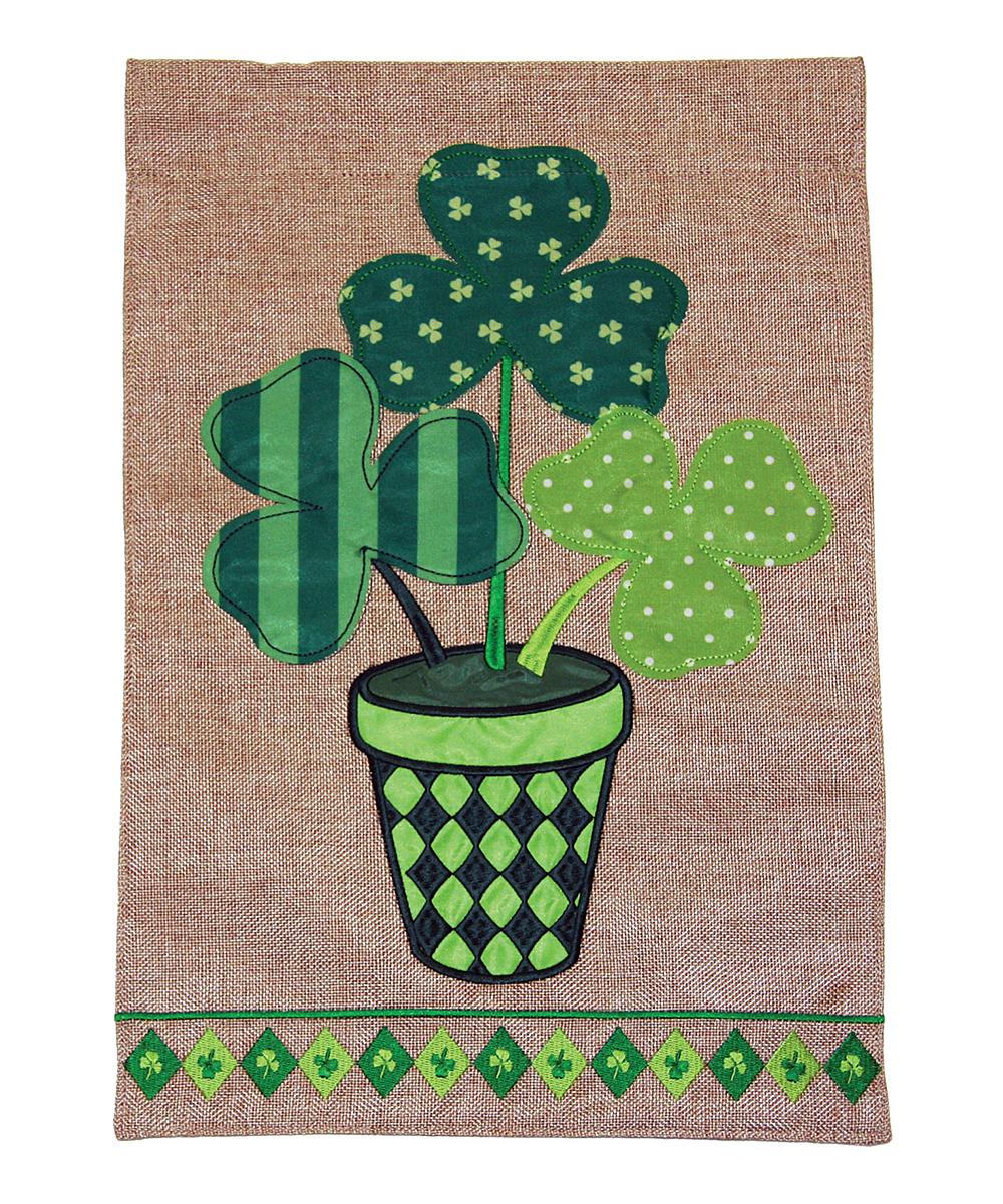 Toland Home Garden  Flags  - Potted Shamrocks Burlap Garden Flag