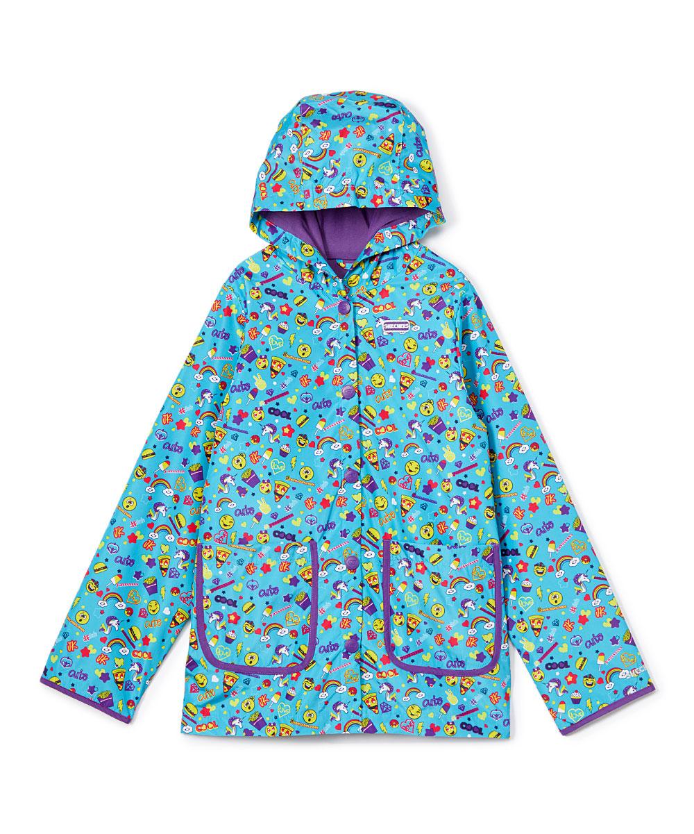 Skechers Turquoise & Purple Emoji Patch-Pocket Raincoat - Girls