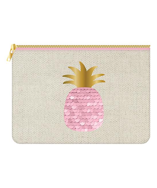 Slant  Makeup Bags  - Beige & Pink Pineapple Cosmetic Bag