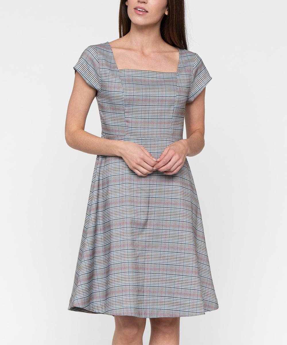 Gray Plaid All Business Square-Neck Dress - Women