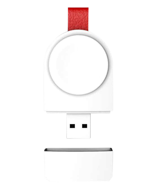 Razzle Shop  Portable Chargers White - White Portable Mini Apple Watch Charger White Portable Mini Apple Watch Charger. With a sleek design you can carry in your pocket, this convenient charger allows you to effortlessly top off the charge on your Apple Watch.Includes portable mini apple watch charger and instruction manualApple Watch not included3.3cm W x 6.5cm H x 1cm DImported