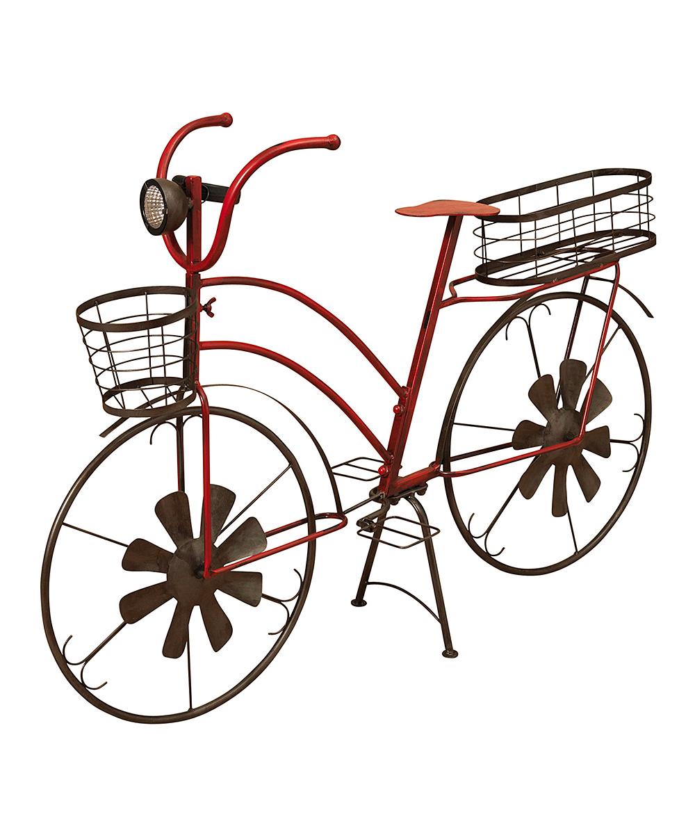 Red Solar Bike Planter Garden Decor