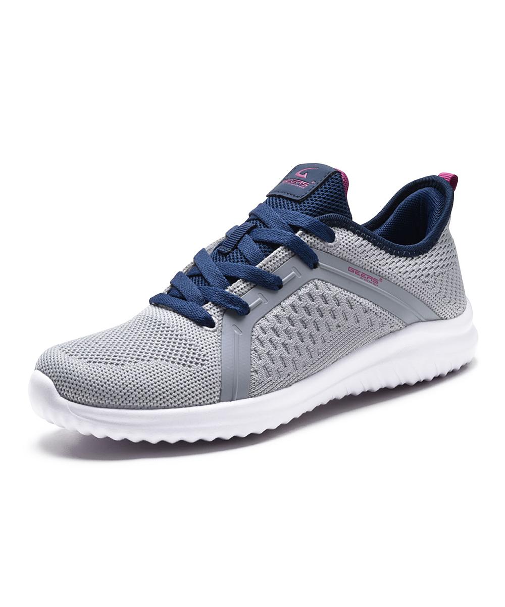 Dream Seek Women's Running Shoes GREY - Gray & Navy Slip-On Sneaker - Women