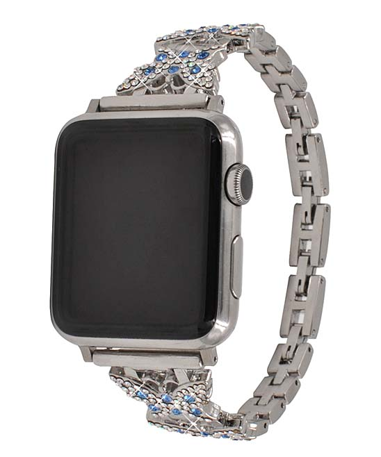 GONABE Women's Replacement Bands silver - Silvertone Butterfly Diamond & Stainless Steel Band for Apple Watch