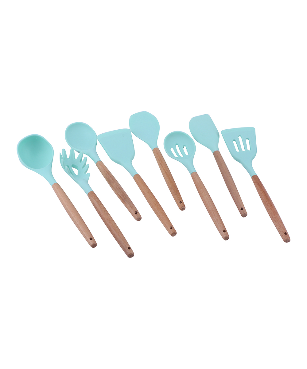Kate Rui Mint Green Eight-Piece Silicone Kitchen Utensil Set