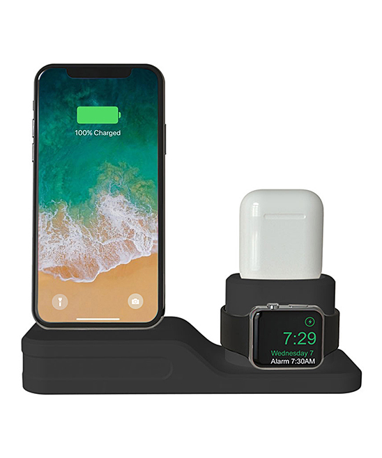 Black 3-in-1 Charging Dock for iPhone, Apple Watch & Air Pod