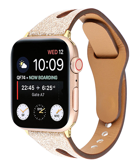 Tech Zebra  Replacement Bands Gold - Gold Glitter Faux Leather Band Replacement for Apple Watch