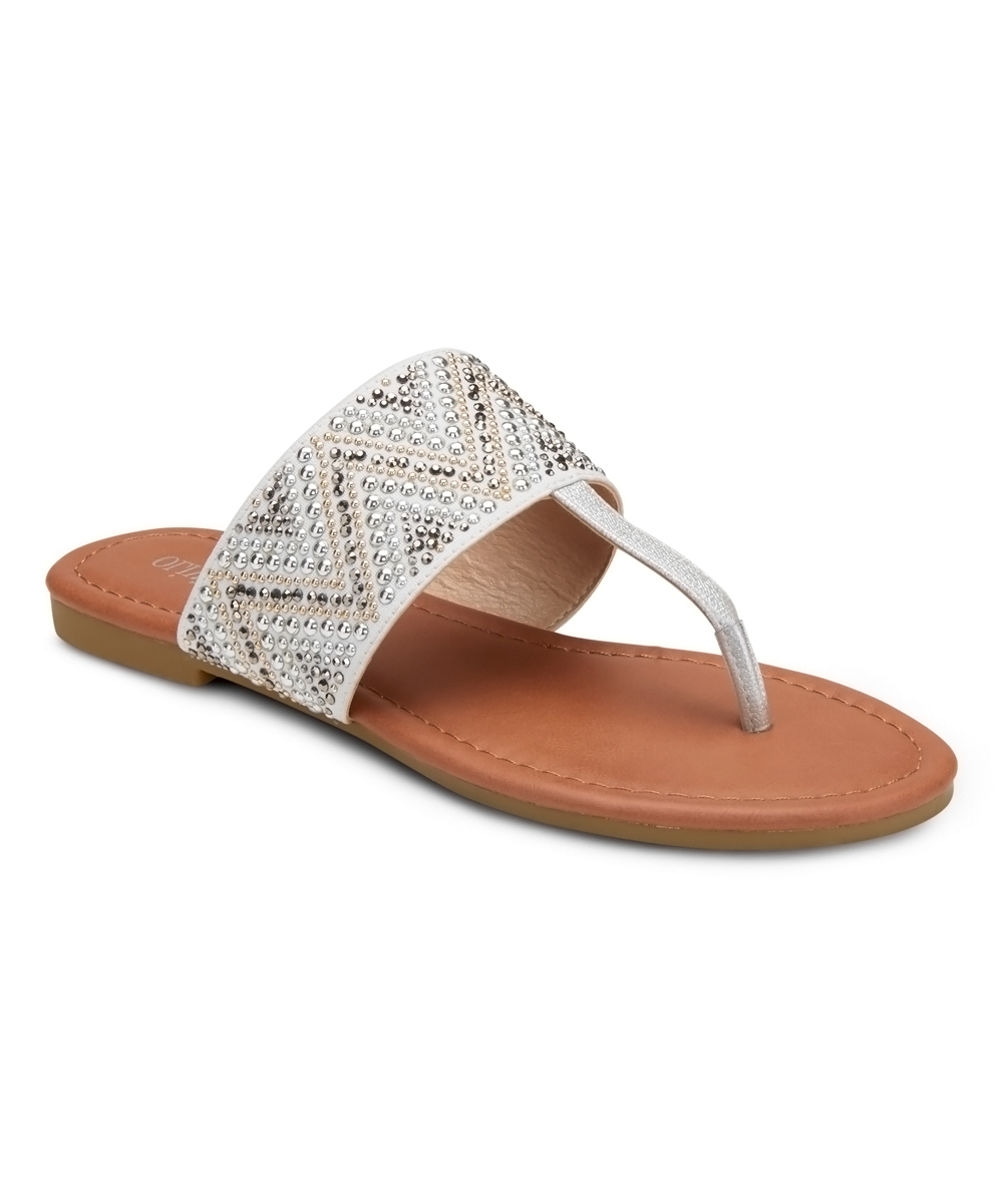 Silver Chevron Stud-Accent Revved Up & Ready Sandals - Women Silver Chevron Stud-Accent Revved Up & Ready Sandals - Women. Show off that pedicure in style by slipping into these sleek sandals elevated with stud accents for a touch of sparkle. Man-made upperMan-made liningMan-made soleImported