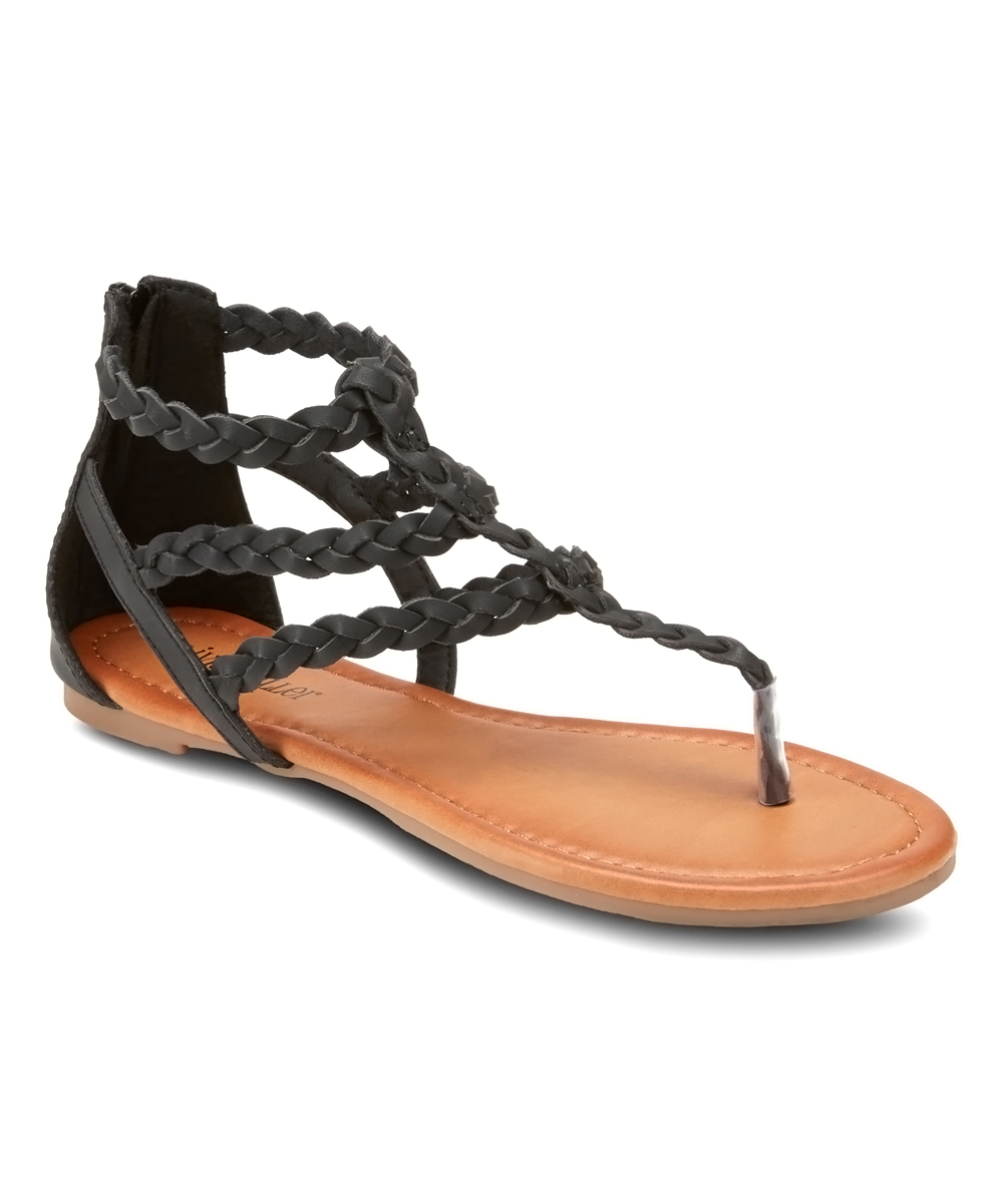 Black Braided Day Trippin Sandals - Women Black Braided Day Trippin Sandals - Women. Bring a bit of free-spirited style to favorite looks by slipping into these strappy sandals boasting braided detailing for boho style. Zip closureMan-made upperMan-made liningMan-made soleImported