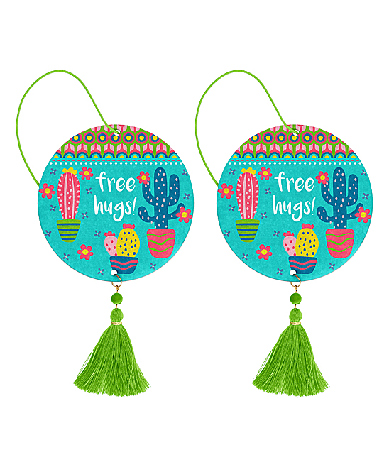 Blue & Pink Air Freshener Cactus Coconut - Set of Two
