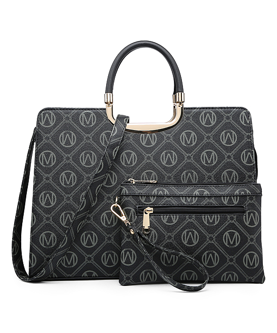 Black Signature Top-Handle Pebbled Satchel & Pouch