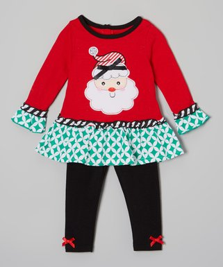 red santa ruffle tunic leggings infant - Christmas Clothes For Kids