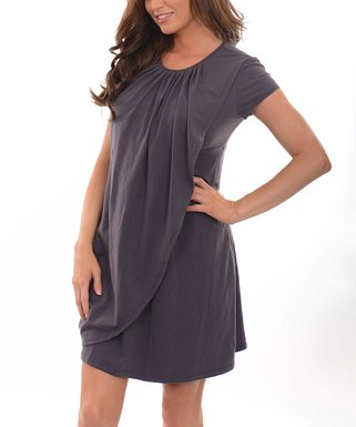 771166ff53 Charcoal Drape Maternity Nursing Dress