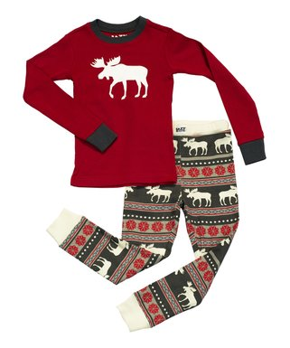 lazy one red fair isle moose pajama set toddler kids - Christmas Pjs Toddler