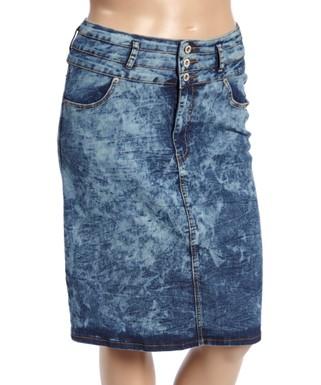 2f47e0f704 be-girl   Blue Acid Denim Midi Skirt - Women & Plus