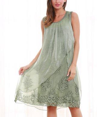 929f396b8c56 Simply Couture   Green Lace Layered Sleeveless Dress - Women & Plus